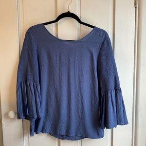 NWT Francesca's Blue Smocked Bell Sleeve Top